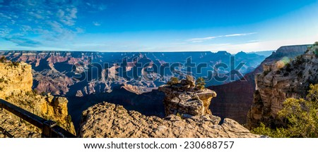 A Very High Resolution Panoramic Wide Angled View of the Magnificent Grand Canyon in Arizona - stock photo