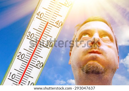 A very hot day in summer - temperature 40 degrees - stock photo