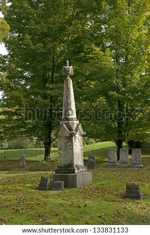 A very impressive family headstone in a local cemetery. - stock photo