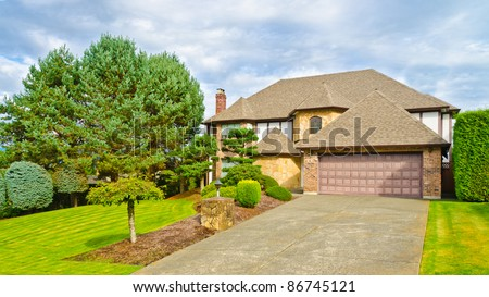 A very neat and tidy home in suburbs of Vancouver, Canada - stock photo