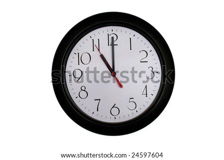 A very nice shot of a clock showing 11 O'clock - stock photo