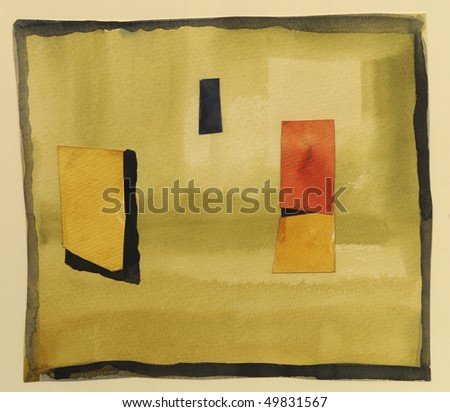 A very nice Watercolor collage on Paper - stock photo