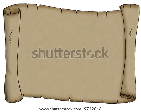 A very old piece of parchment, perhaps for a pirate treasure map. - stock photo