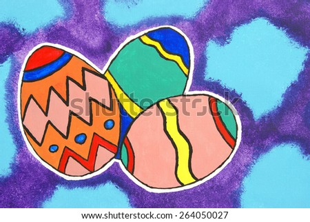 A vibrant Easter greeting hand painted with acrylic on canvas. - stock photo