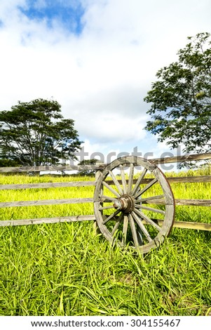 A vibrant, green meadow behind a ranching fence and wagon wheel shows the lush growth in a rural farming community on Kauai Hawaii.  - stock photo