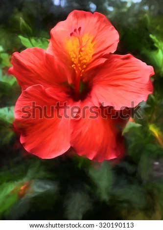 A vibrant red hibiscus bloom transformed into a colorful digital painting. - stock photo