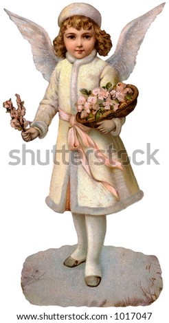 A Victorian Christmas illustration of a child guardian angel (circa 1890) - stock photo