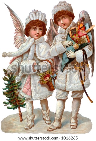 A Victorian illustration of Christmas angels with gifts (circa 1890) - stock photo