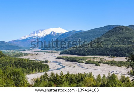 A view at Mt.St.Helens, which erupted last in 1980 - stock photo