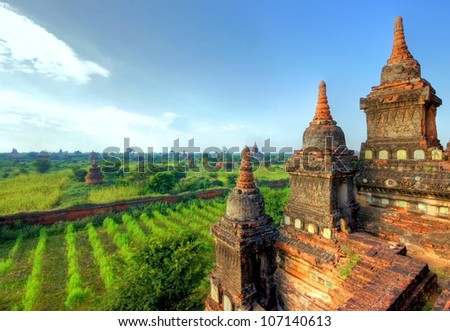A view at the temples of Bagan in Myanmar,  Asia - stock photo