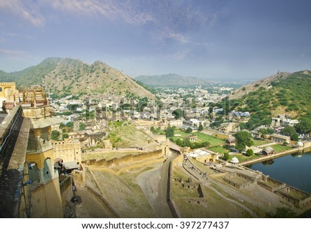 A view from Ambar Fort Jaipur - stock photo