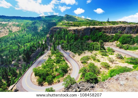 A View from rowena crest overlook - stock photo