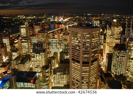 A view from Sydney Tower on night Sydney skyline - stock photo