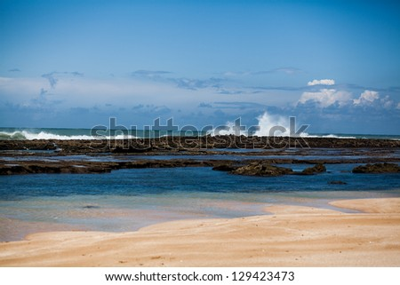 A view from the Atlantic ocean during the high tide - stock photo