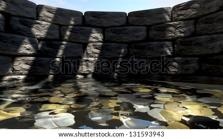 A view from the bottom of a brick wishing well with gold silver and bronze coins at the bottom covered in water - stock photo