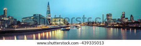 A view from the london skyline from the Tower Bridge. - stock photo