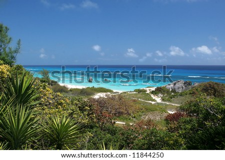 A view of a beach and shoreline of Bermuda. - stock photo