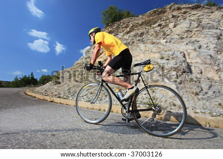 A view of a bicyclist riding a bike - stock photo