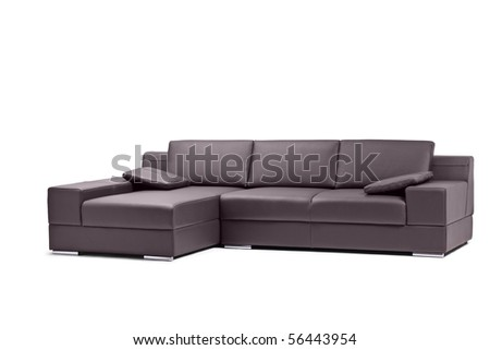 A view of a black leathered sofa isolated on white background - stock photo