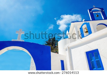 A view of a Greek church with iconic blue colors on Greek island, Kalymnos, Greece - stock photo