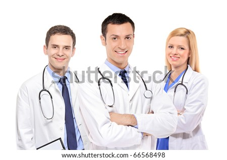 A view of a happy medical team of doctors, men and woman, isolated on white background - stock photo