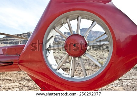 A view of a helicopter part on a sunny day. - stock photo