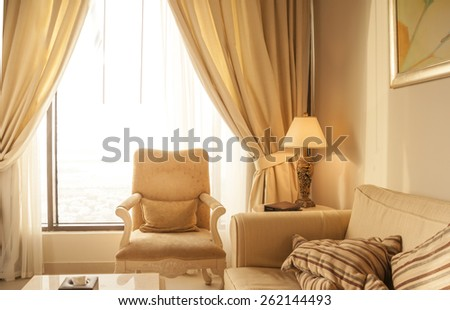 A view of a hotel room. - stock photo