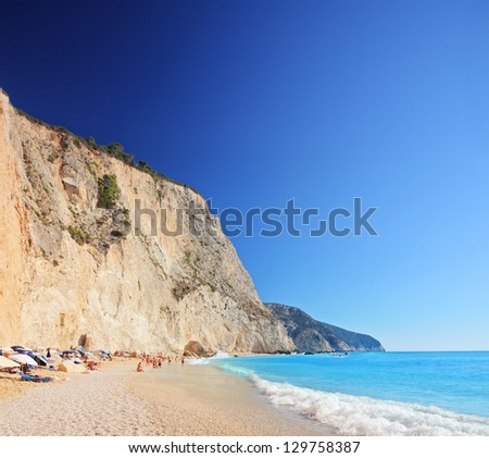 A view of a Porto Katsiki beach on a clear sunny day day, Lefkada island, Greece - stock photo
