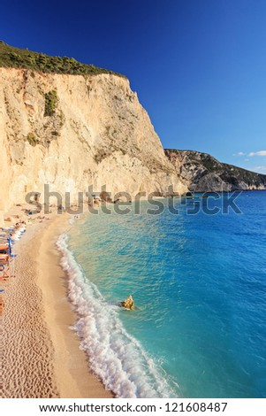 A view of a sandy beach at Lefkada island, Greece - stock photo