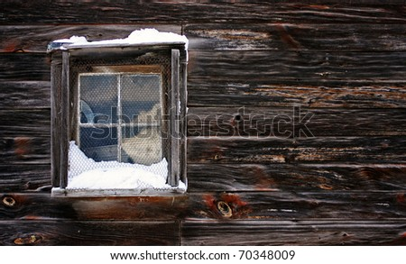 a view of a snow-covered window - stock photo