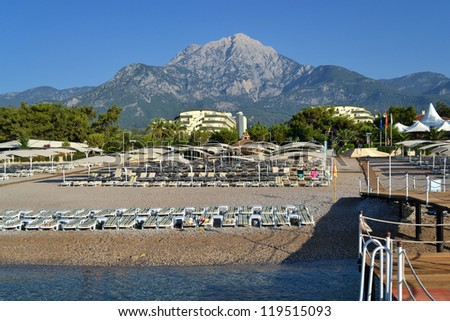 a view of a Turkey resort place  in Antalya with beach near a Mediterranean costline - stock photo