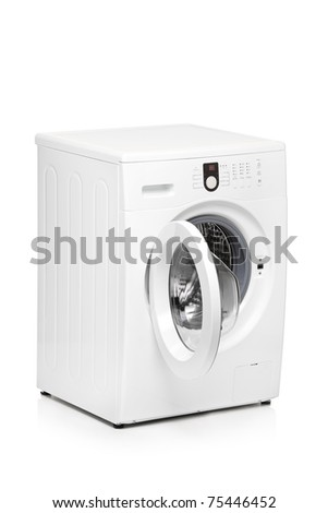 A view of a washing machine isolated on white background - stock photo