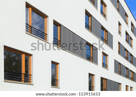 A view of a windows of modern apartments in the center of Kazimierz district in Krakow, Poland - stock photo