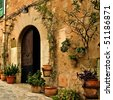 a view of an old mediterranean village - stock photo