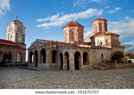 A view of an orthodox monastery St. Naum in Ohrid, Macedonia - stock photo