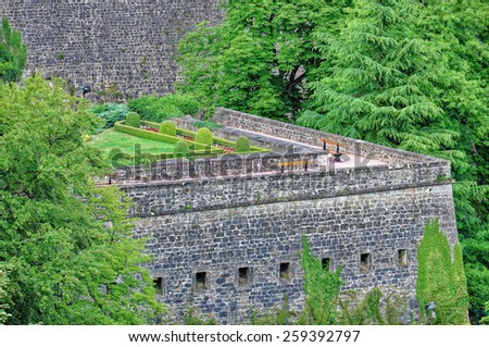 A view of bock casemates from the bridge in Luxembourg City - stock photo