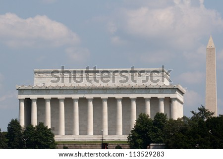 A view of both the Washington Monument and the backside of the Lincoln Memorial, Washington, D.C. - stock photo