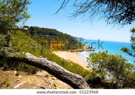 A view of Cala Fonda beach, in Tarragona, Spain - stock photo