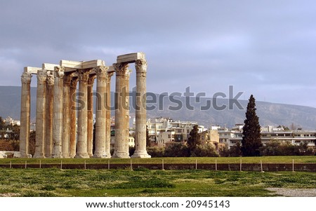 A view of columns on ruins near the Athens archeological site - stock photo