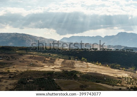 A view of countryside landscape from Ronda, Malaga, Andalusia, Spain - stock photo