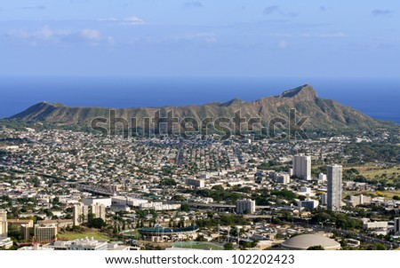 A view of Diamond Head from Tantalus Drive, Oahu, Hawaii. - stock photo