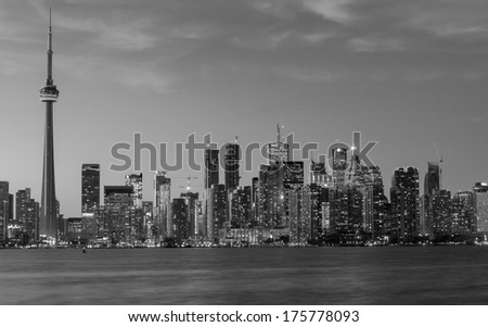 A view of Downtown Toronto in Black and White - stock photo