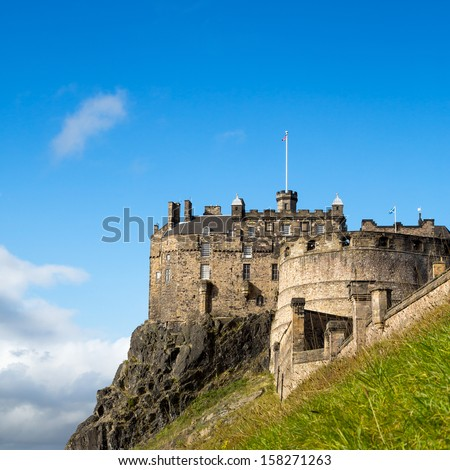 A view of Edinburgh Castle, an historic fortress perched on Castle Rock, Scotland - stock photo