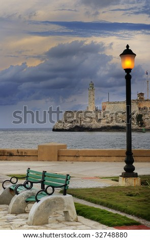 A view of el Morro fortress in Havana Bay entrance - stock photo