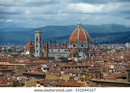 A view of Firenze from the Piazza Michelangelo. - stock photo