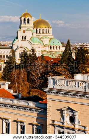 A view of golden domes st. Aleksander Nevski cathedral in Sofia, Bulgaria. - stock photo