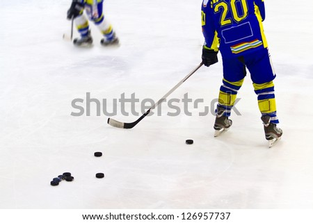 A view of ice hockey player - stock photo