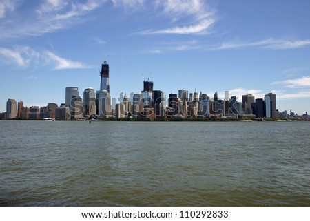 A view of lower Manhattan from across the Hudson River - stock photo