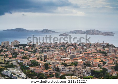 A view of Marseille and the castle of If - stock photo
