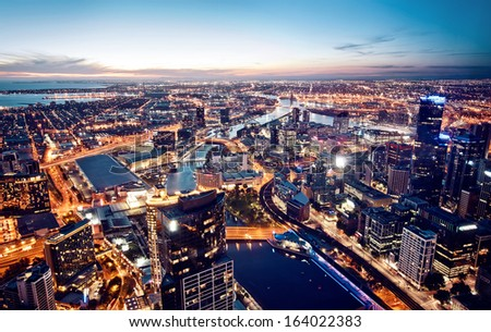 A view of Melbourne at night, Victoria, Australia - stock photo